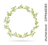 olive tree border. vector... | Shutterstock .eps vector #1099668383
