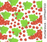 pattern with red currant berries   Shutterstock .eps vector #1099669310