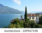 Gravedona town and Como lake, Italy - stock photo