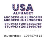 american alphabet with usa flag ... | Shutterstock .eps vector #1099674518