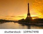 paris  eiffel tower and seine... | Shutterstock . vector #109967498