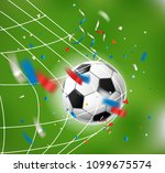 goal. soccer ball and confetti. ... | Shutterstock .eps vector #1099675574