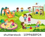 Vector illustration of happy children playing in playground | Shutterstock vector #1099688924