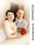 Portrait of married couple in the wedding day - stock photo
