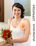 Portrait of bride in the wedding day - stock photo