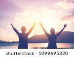 copy space of women rise hand... | Shutterstock . vector #1099695320