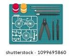 plastic model with tool kit on... | Shutterstock .eps vector #1099695860