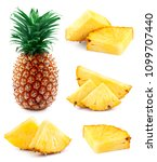 pineapple collection with leaf... | Shutterstock . vector #1099707440