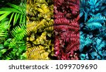 colorful tropical green leaf 4... | Shutterstock . vector #1099709690