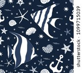 marine seamless pattern with... | Shutterstock .eps vector #1099715039