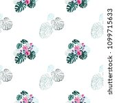 monstera pattern with leaves... | Shutterstock .eps vector #1099715633