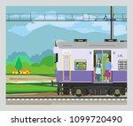 indian railway runs through... | Shutterstock .eps vector #1099720490