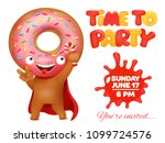 donut party invitation card... | Shutterstock .eps vector #1099724576