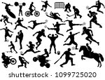 silhouettes of people in sports | Shutterstock . vector #1099725020