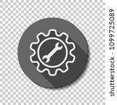wrench in gear. flat icon  long ... | Shutterstock .eps vector #1099725089