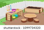 illustration of a mud kitchen... | Shutterstock .eps vector #1099734320