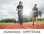 men and women jogging with...   Shutterstock . vector #1099735166