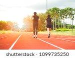 men and women jogging with...   Shutterstock . vector #1099735250