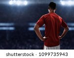 soccer player standing on the... | Shutterstock . vector #1099735943