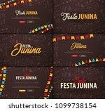 set of festa junina backgrounds ... | Shutterstock .eps vector #1099738154