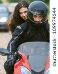young couple on beautiful bike... | Shutterstock . vector #109974344