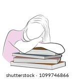 the girl lies leaning on books. ... | Shutterstock .eps vector #1099746866