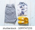 men's casual outfits of... | Shutterstock . vector #1099747253