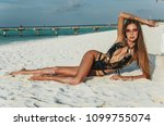 fashion outdoor photo of sexy... | Shutterstock . vector #1099755074
