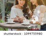 two teenage women use...   Shutterstock . vector #1099755980