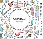 hand drawn set with sewing and... | Shutterstock .eps vector #1099758353