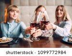 three girlfriends holding... | Shutterstock . vector #1099772984