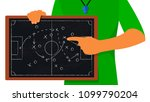 football coach hand drawing a... | Shutterstock .eps vector #1099790204