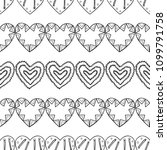 hearts. black and white... | Shutterstock .eps vector #1099791758