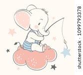 vector illustration of a cute... | Shutterstock .eps vector #1099793378