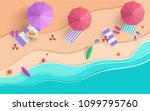 the beach scene from the top in ... | Shutterstock .eps vector #1099795760