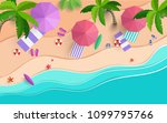 the beach scene from the top in ... | Shutterstock .eps vector #1099795766