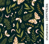 seamless pattern with moths and ... | Shutterstock .eps vector #1099798286