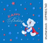 happy birthday   polar bear cub.... | Shutterstock .eps vector #1099801760