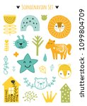 scandinavian doodles elements.... | Shutterstock .eps vector #1099804709