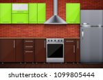 typical modular kitchen. brick... | Shutterstock .eps vector #1099805444