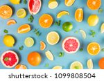 citrus food falt lay pattern on ...   Shutterstock . vector #1099808504