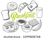 hand drawn breakfast food with... | Shutterstock .eps vector #1099808768
