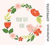 cute floral wreath with bird.... | Shutterstock .eps vector #1099810556