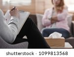 back view of psychotherapist... | Shutterstock . vector #1099813568