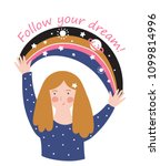 young girl with space rainbow... | Shutterstock .eps vector #1099814996