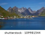 Picturesque panorama of the fjord around town of Reine on Lofoten islands in Norway - stock photo