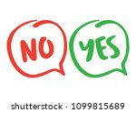 yes and no   handwritten text... | Shutterstock .eps vector #1099815689