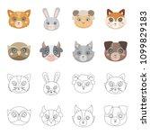 owl  cow  wolf  dog. animal...   Shutterstock . vector #1099829183