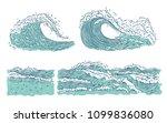 Vector Set Waves Sea Ocean. Big ...