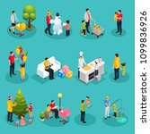 isometric fatherhood elements... | Shutterstock .eps vector #1099836926